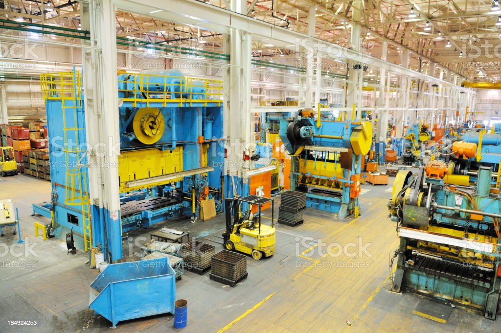 Large Tonnage Metal Press Shop Industry in American Manufacturing Factory stock photo