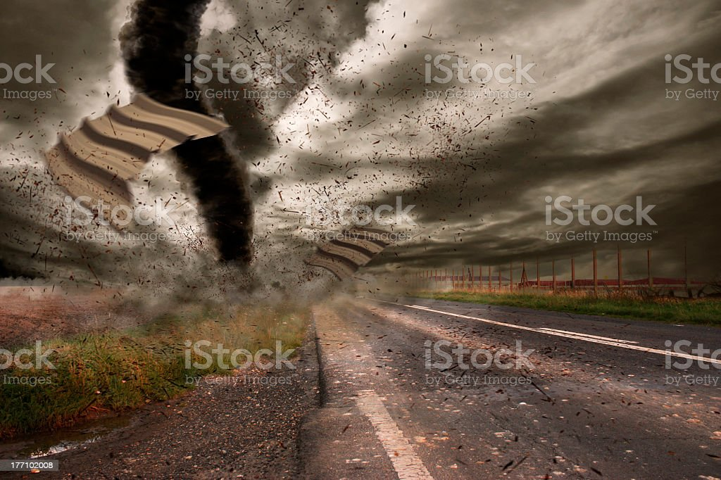 Large tornado over a meteo station royalty-free stock photo