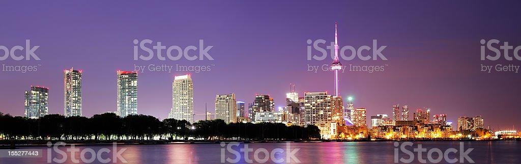 Large Toronto City Night Panorama stock photo