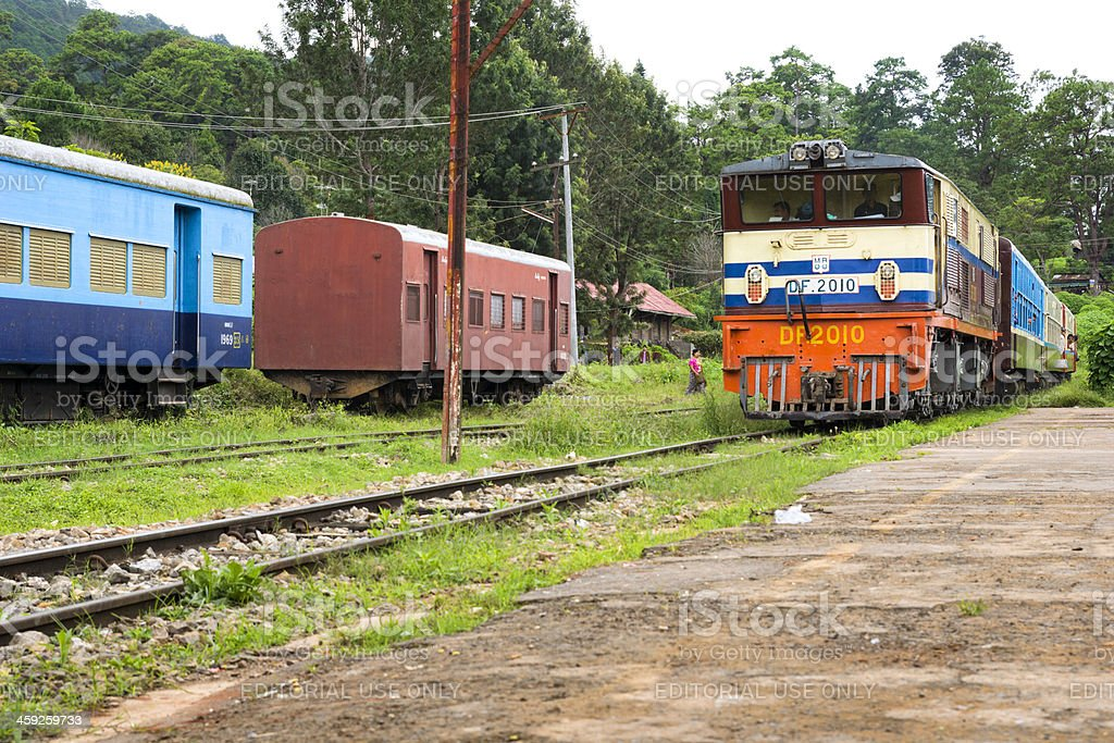 Large train arriving at the railway station of Kalaw stock photo