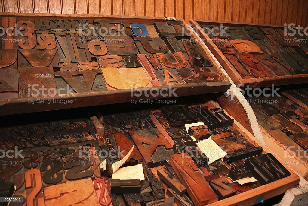 Large trays of assorted old woodtype. stock photo