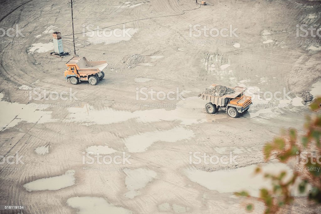 large trucks in the quarry stock photo