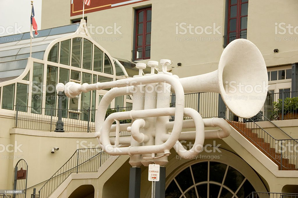 Large Trumpet Outside Building stock photo