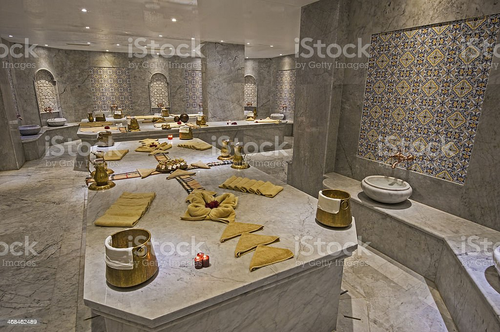 Large turkish bath in health spa stock photo