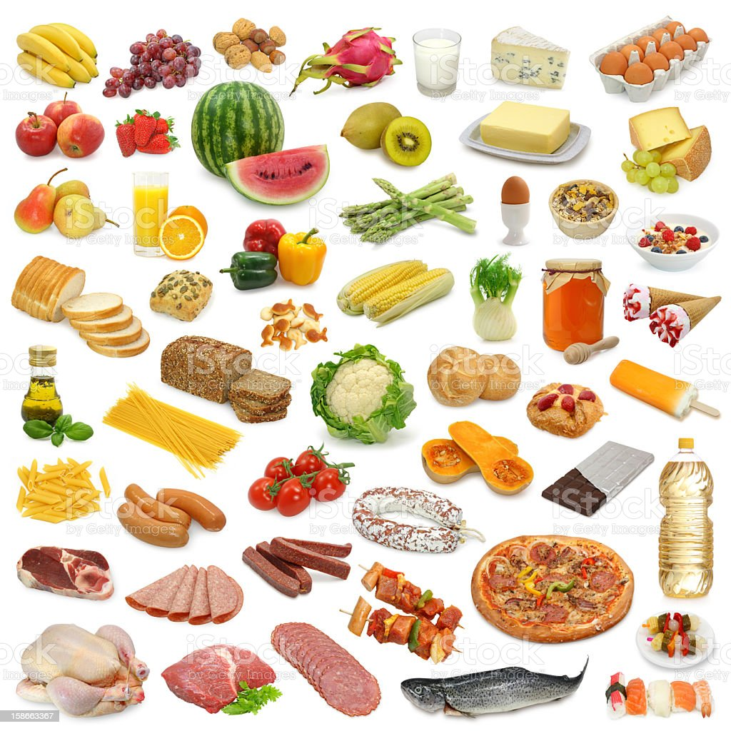 A Large variety of food from all groups stock photo