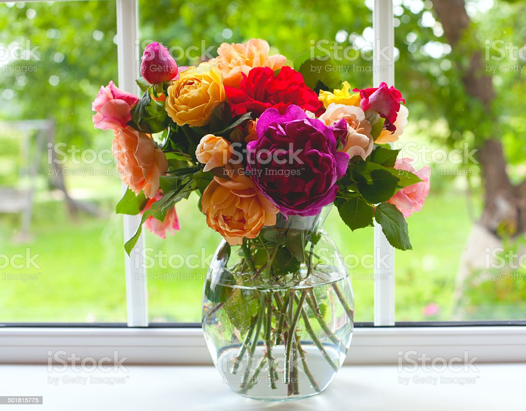 large vase with colorful roses stock photo