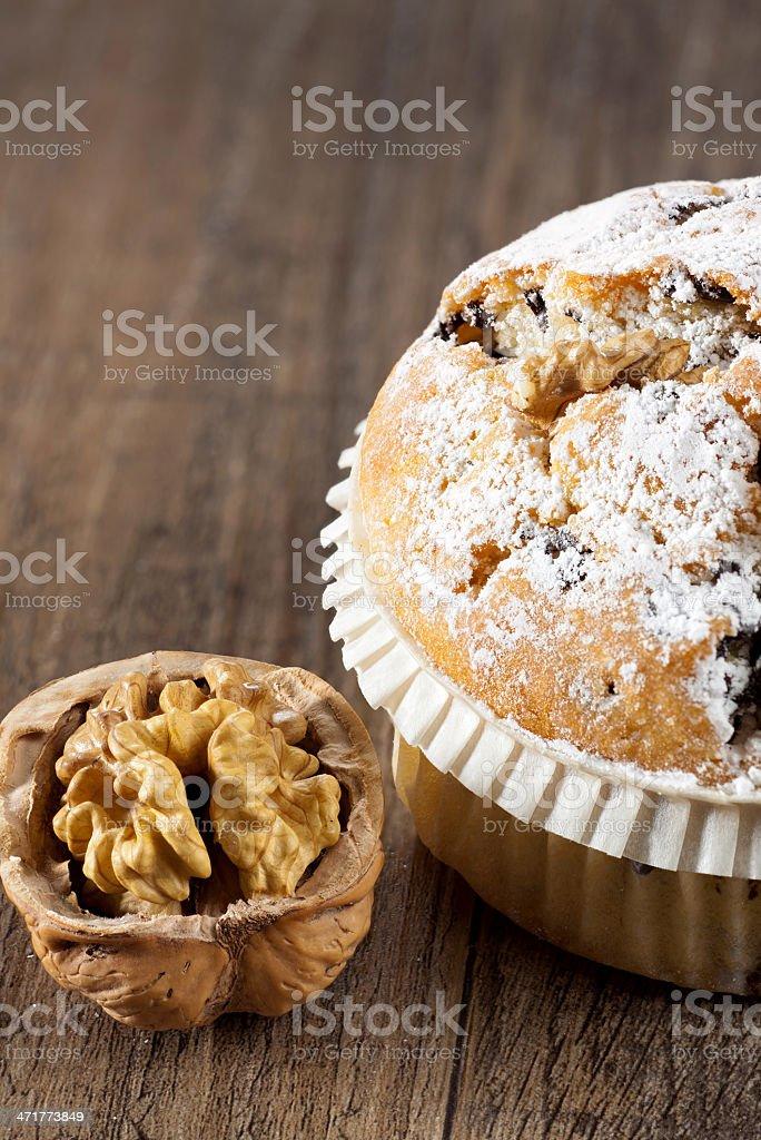 Large walnut chocolate muffin royalty-free stock photo