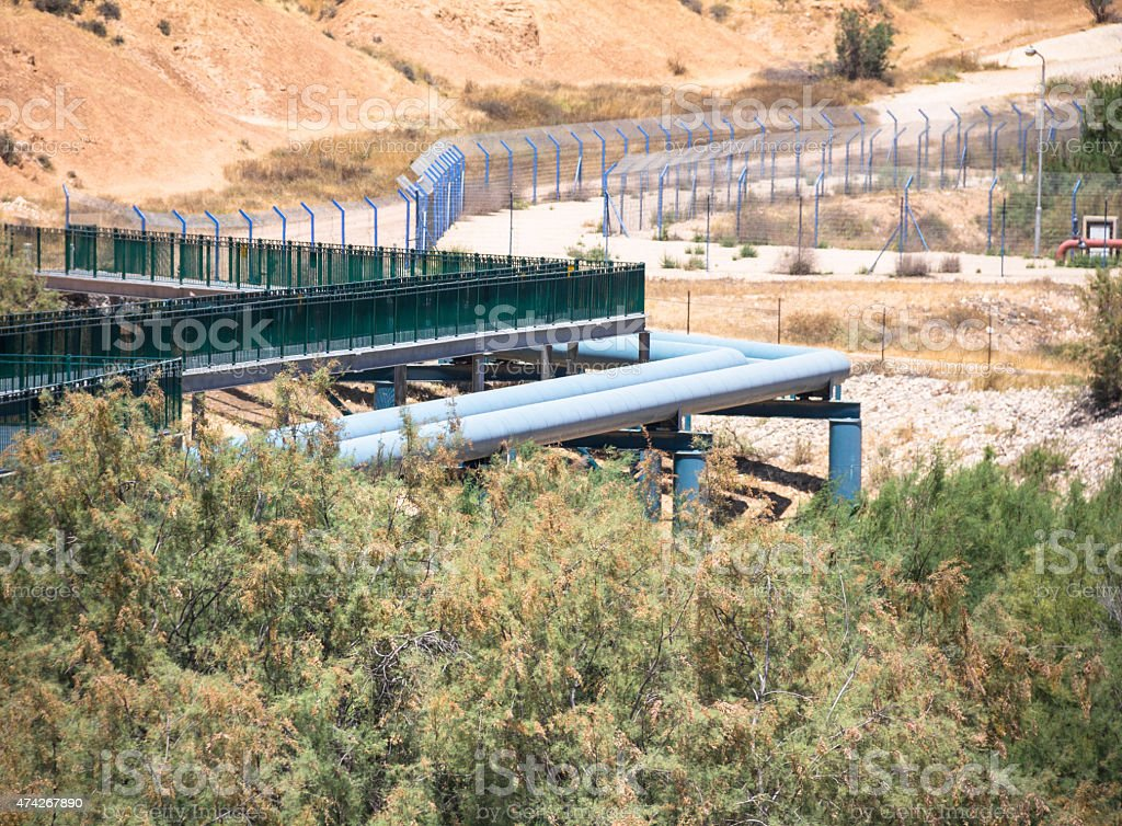 Large water pipe line in the Negev desert. Israel stock photo