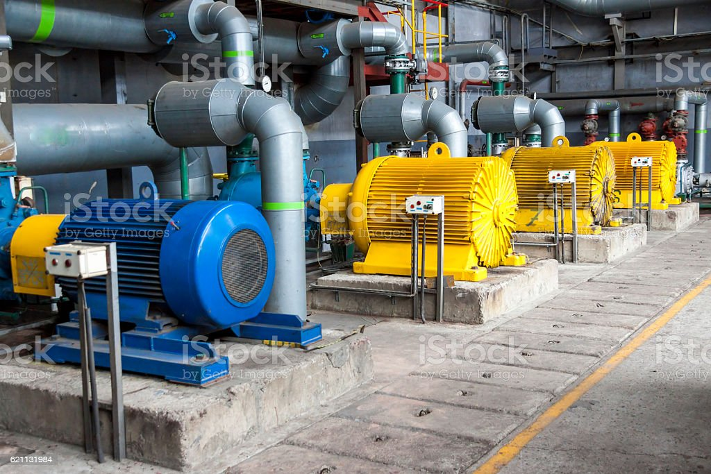 Large water pumps stock photo