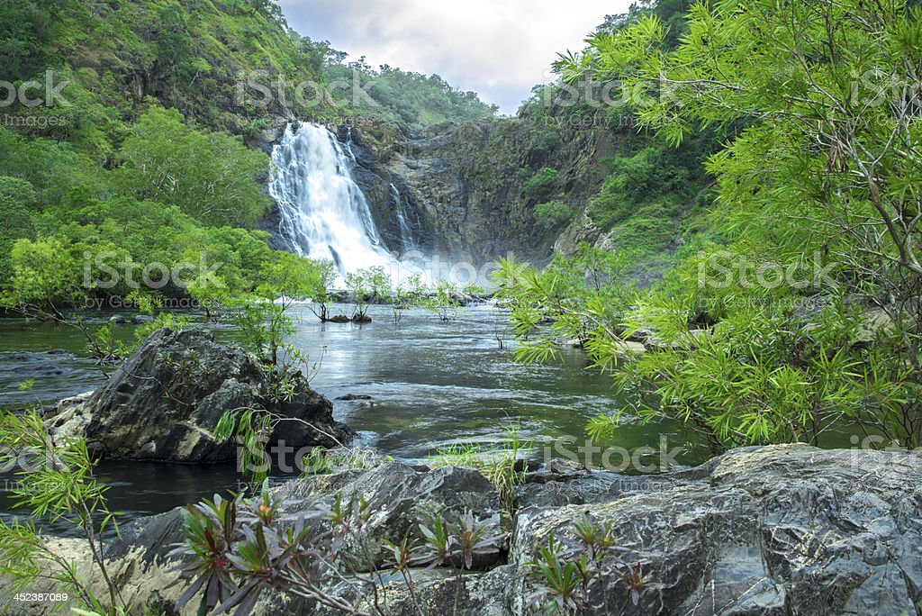 Large waterfall during wet season stock photo