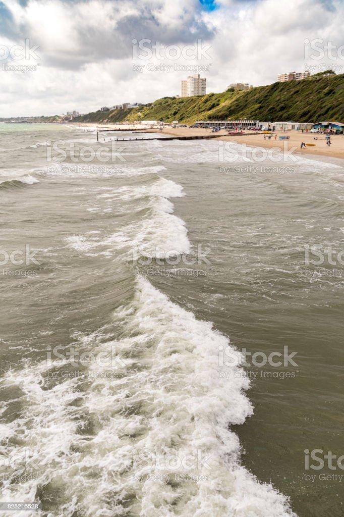 Large waves at Bournemouth Beach, Dorset stock photo