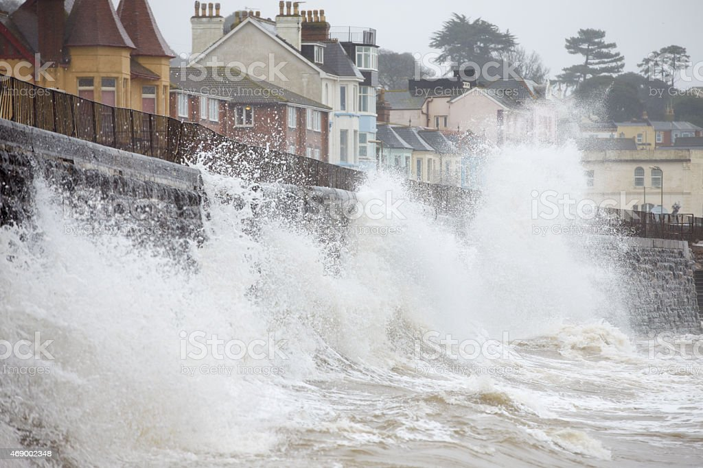 Large Waves Breaking Against Sea Wall At Dawlish In Devon stock photo