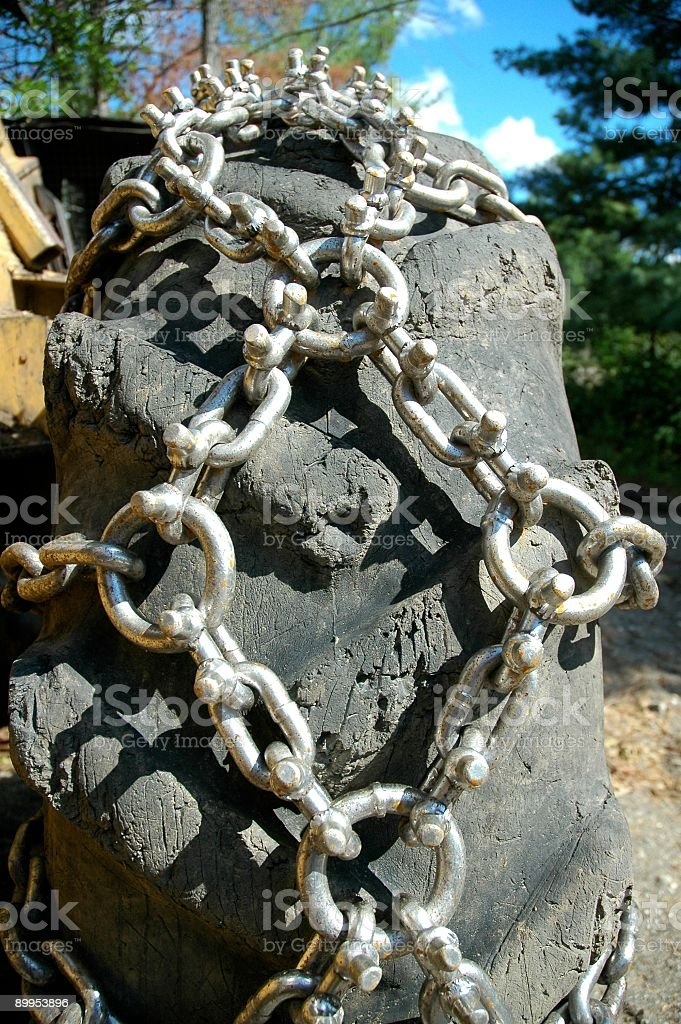large wheel with chains stock photo