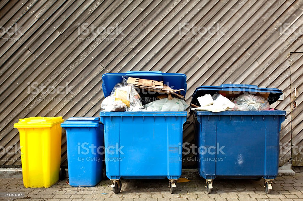 Large wheelie bins stock photo