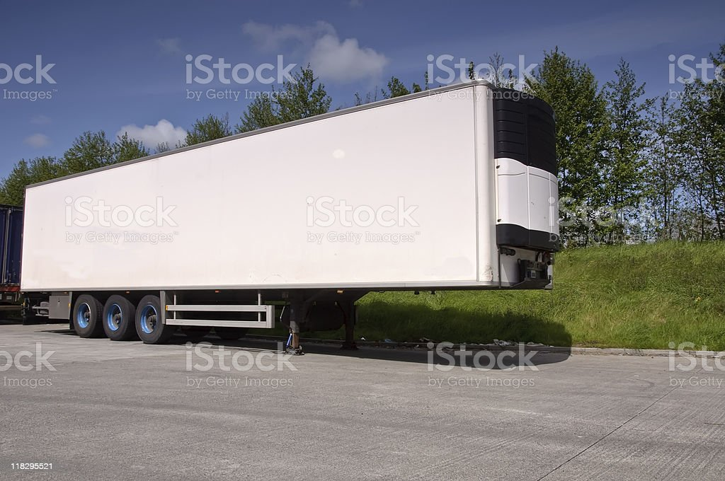 large white cold trailer freight for truck royalty-free stock photo