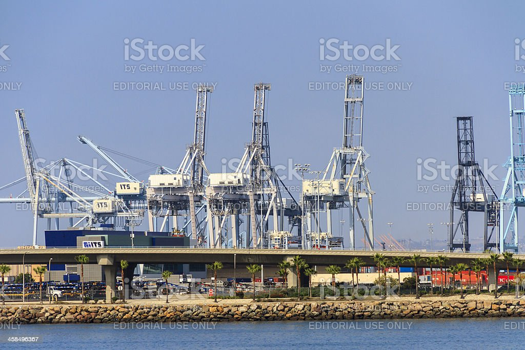 Large White Container Cranes royalty-free stock photo