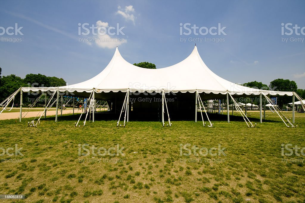 Large White Event Tent, Grass, Blue Sky stock photo