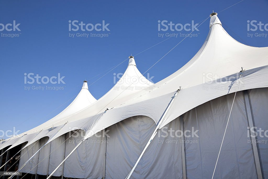 Large White Marquee Tent with clear blue sky stock photo