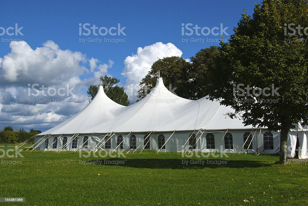 Large white party tent stock photo