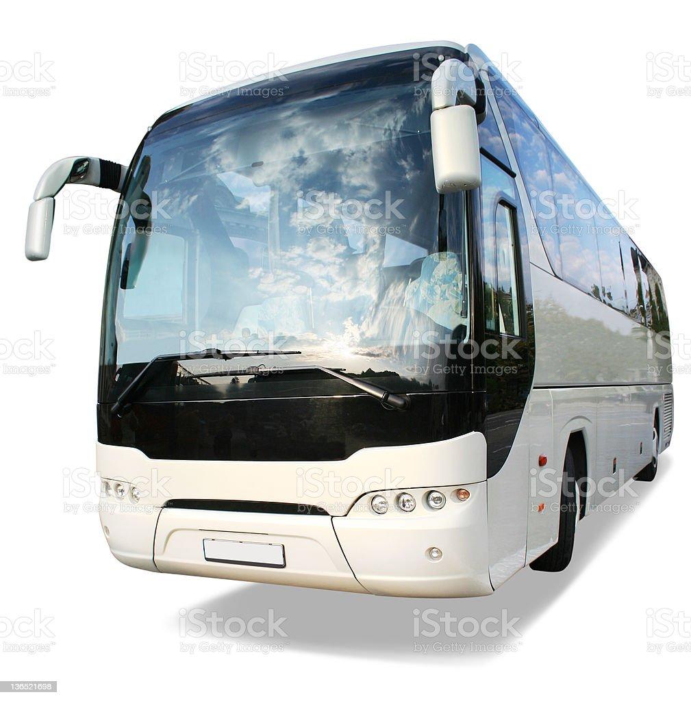 Large white travel bus on white background royalty-free stock photo