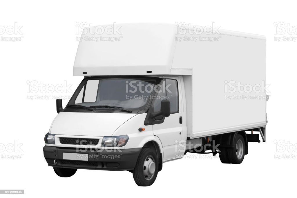 Large white van isolated on a white background with path royalty-free stock photo