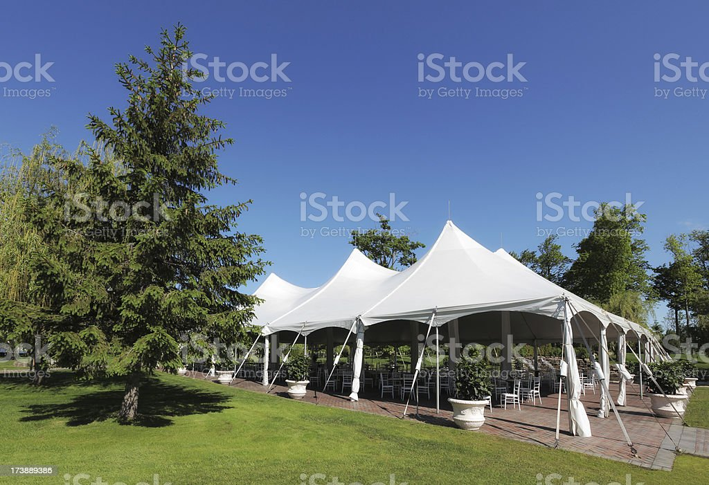 Large white weddings and celebrations Tent stock photo