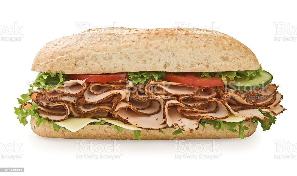 Large whole grain turkey/chicken sandwich stock photo