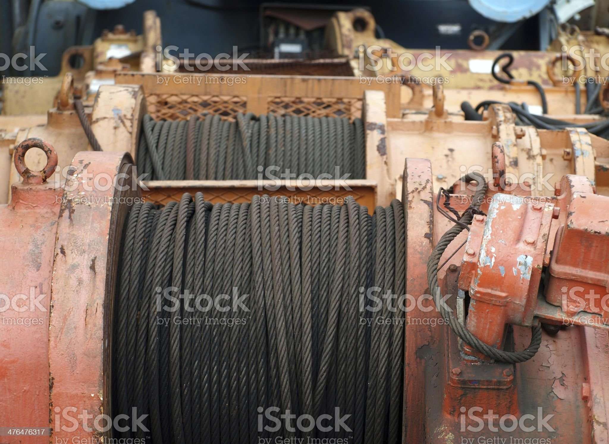 Large Winch with Steel Cable royalty-free stock photo