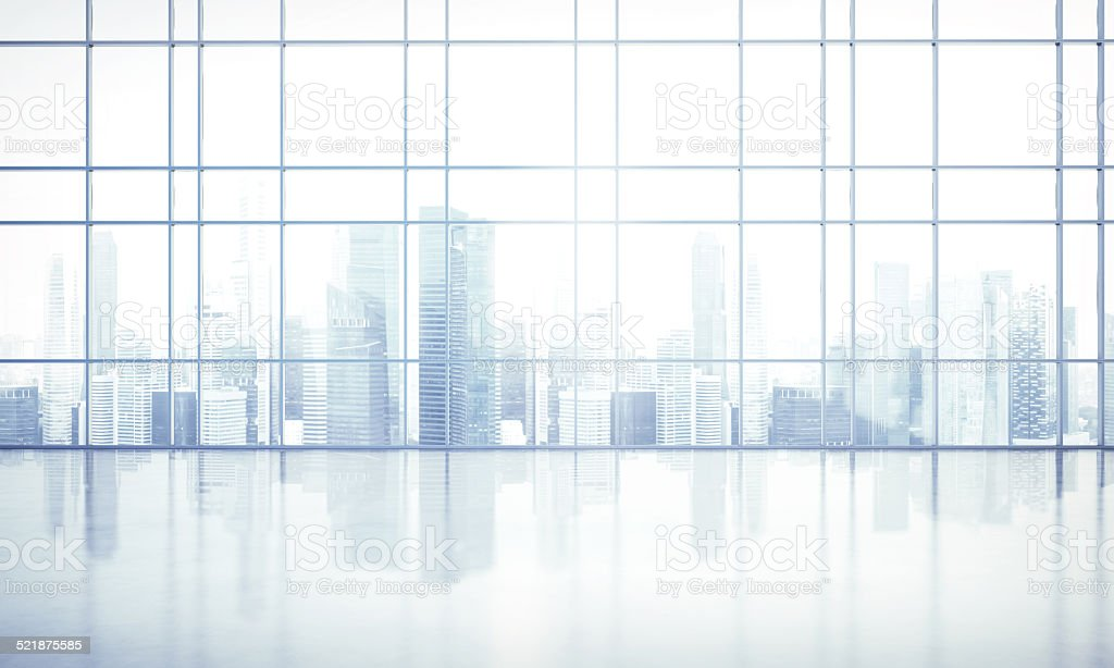 large window into white office stock photo