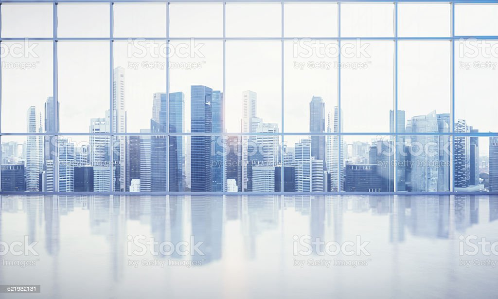 large window into white office with megalopolis view stock photo
