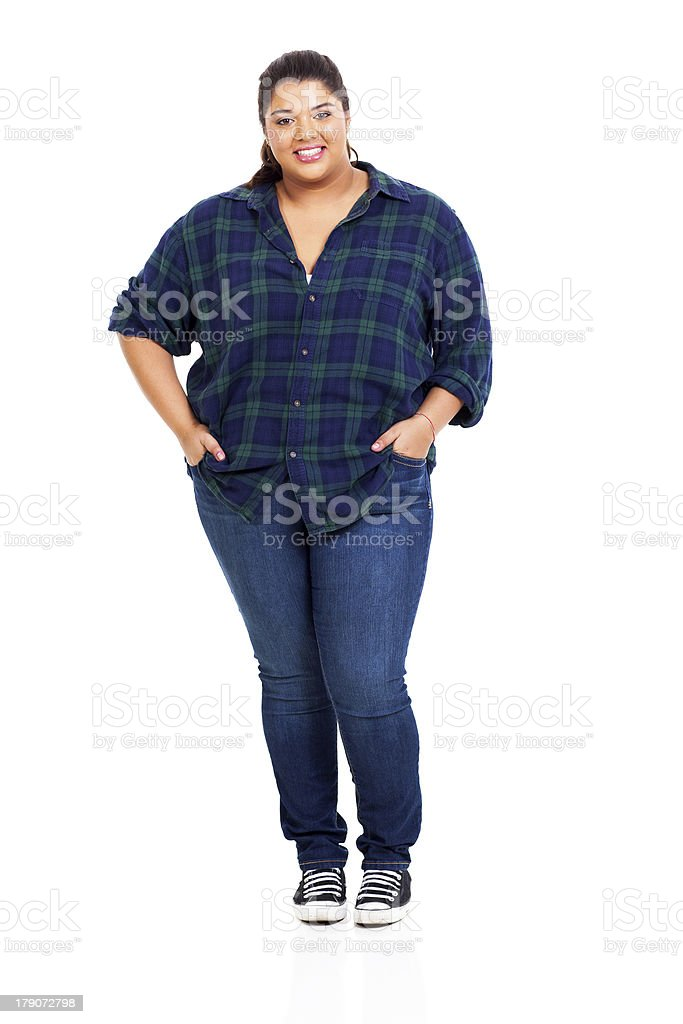 large woman in jeans stock photo