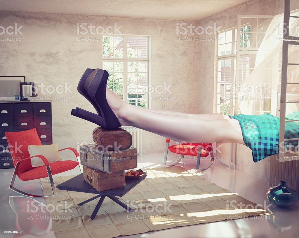 large woman  in the interior stock photo