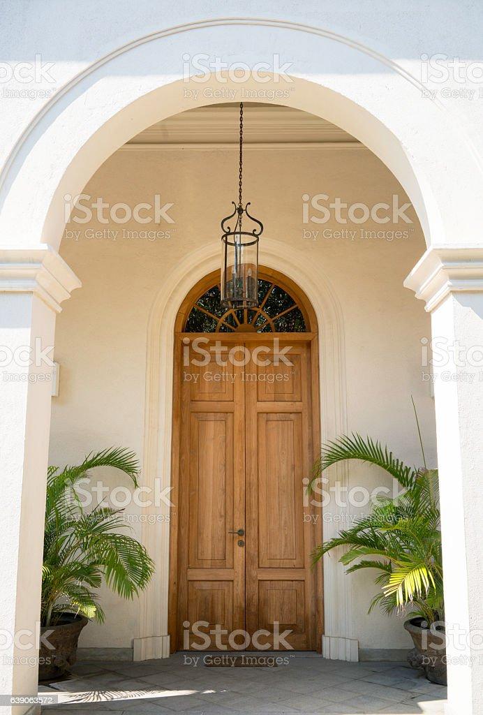 Large wooden door stock photo