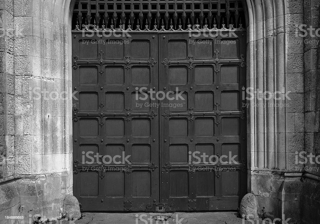Large wooden doors stock photo