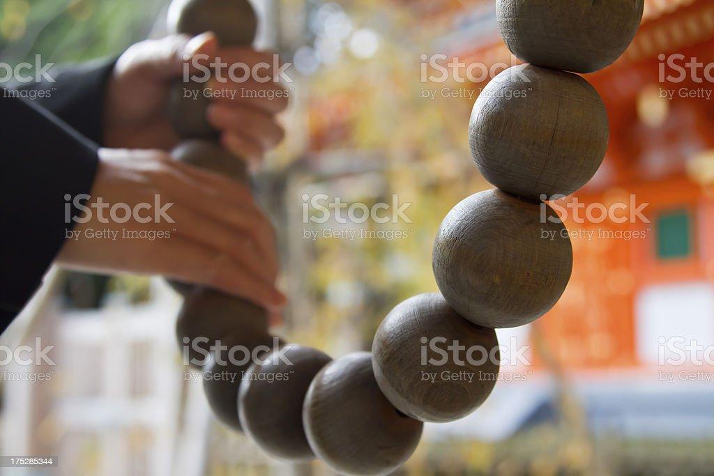 Large Wooden Prayer Beads royalty-free stock photo