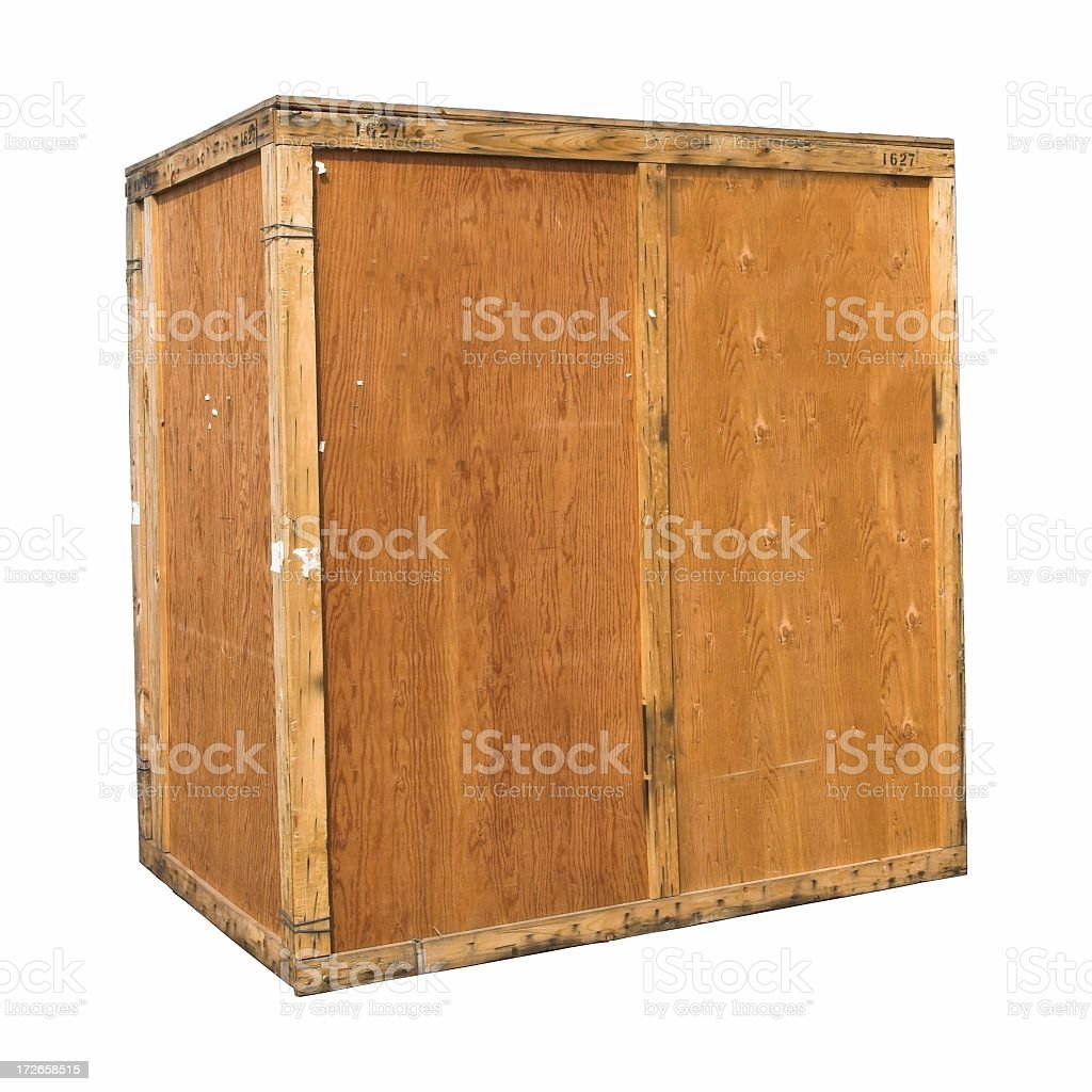A large wooden shipping crate made out of plywood  royalty-free stock photo