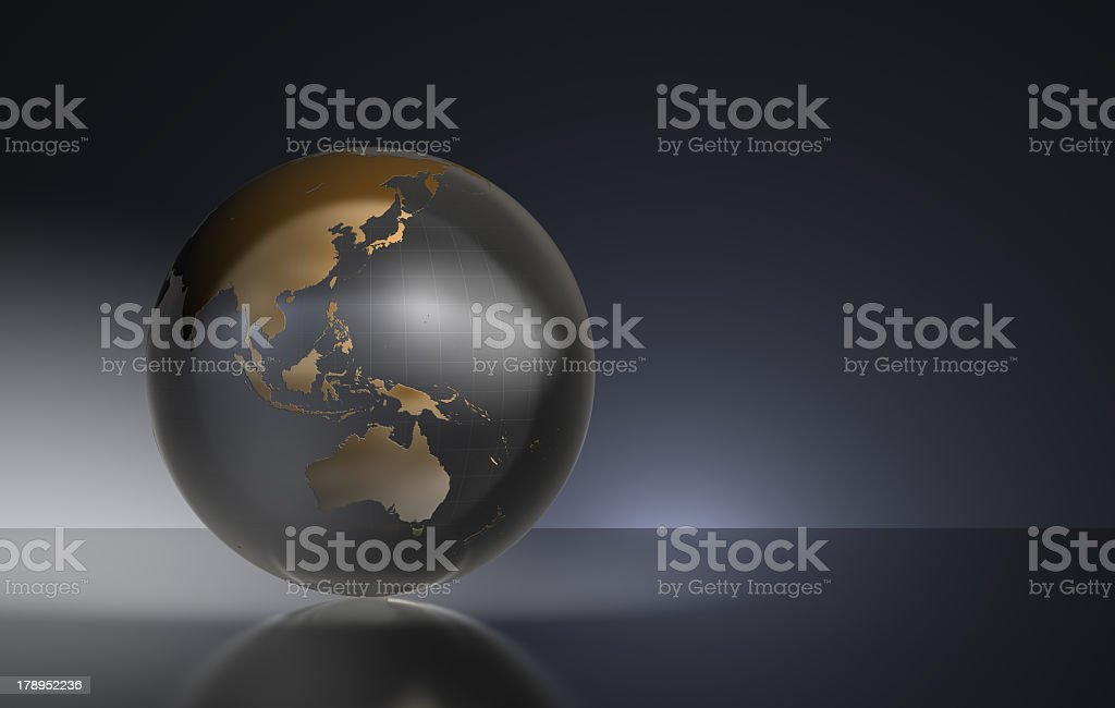 Large world globe on a black background royalty-free stock photo