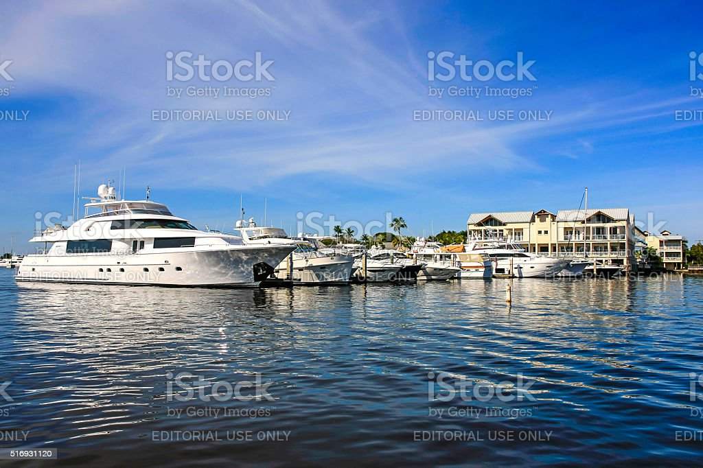 Large yachts in the Port of Naples Marina in Florida stock photo