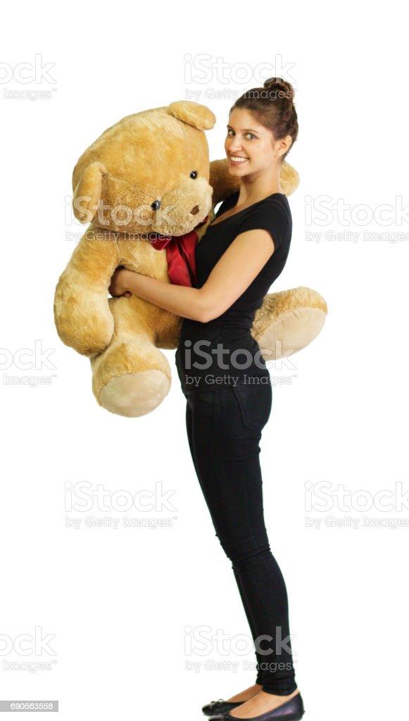 with Russian teddy bear girl