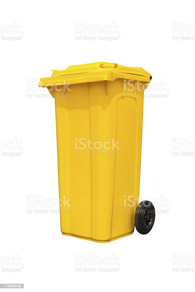 Large yellow trash can royalty-free stock photo