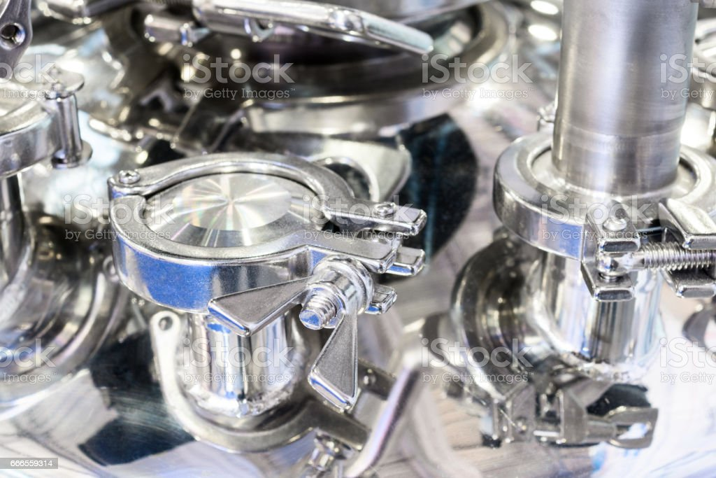 A large-scale fragment of a pharmaceutical autoclave stock photo