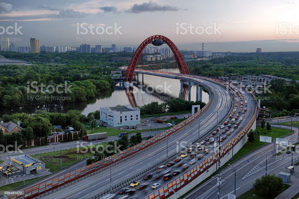 Largest cable-stayed bridge in Moscow stock photo