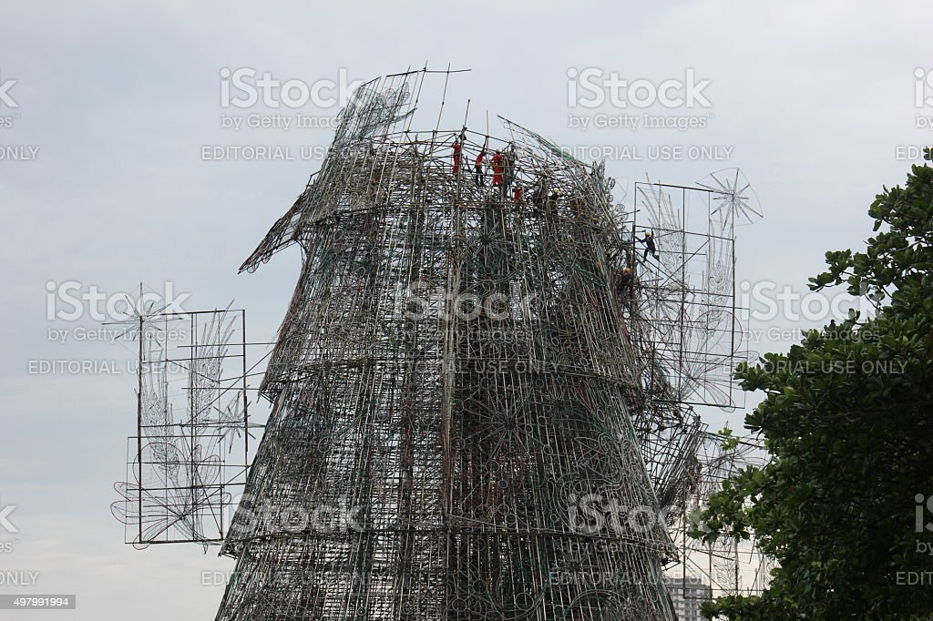 Largest floating Christmas tree in the world broke after gale stock photo