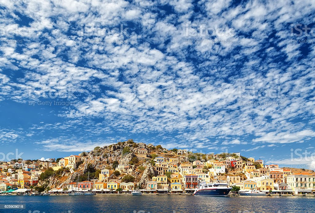 largest ship in port of Symi. pictorial Greece series-  island stock photo