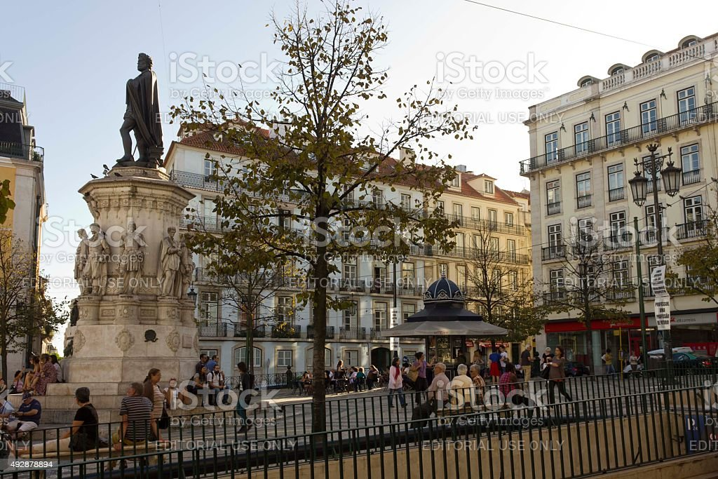 Largo Camoes square in Lisbon stock photo