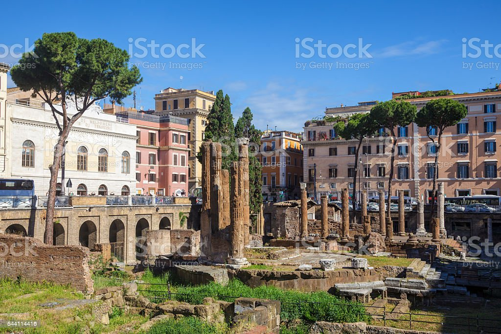 Largo di Torre Argentina archaeological area in Rome Italy stock photo