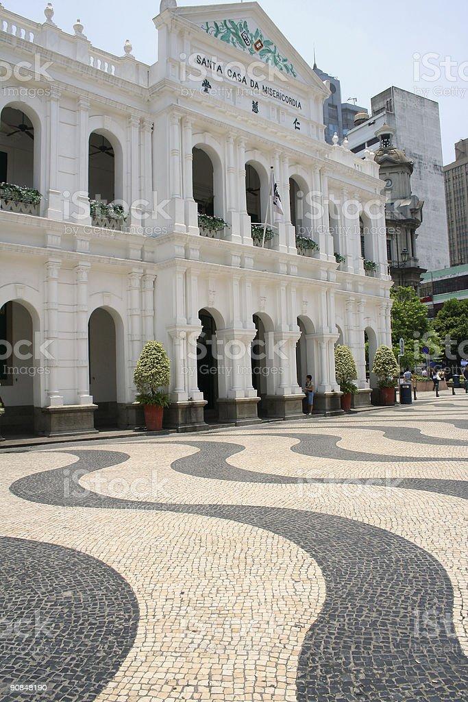 largo do senado macau colonial architecture royalty-free stock photo