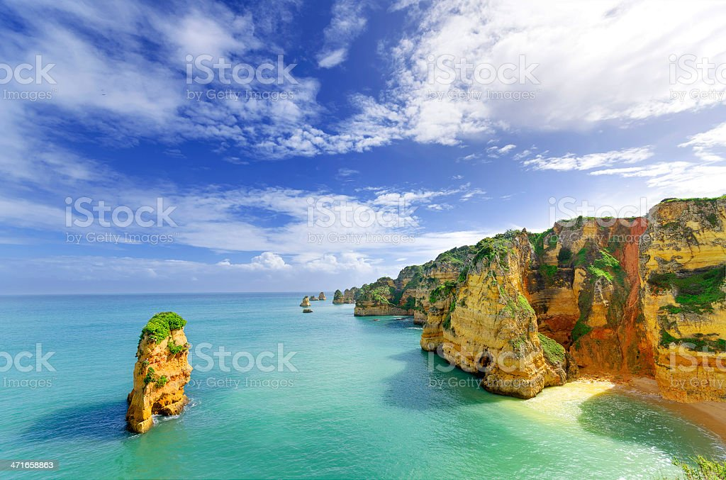 Largos, Alvarez, Portgual beach and rocky landscape stock photo