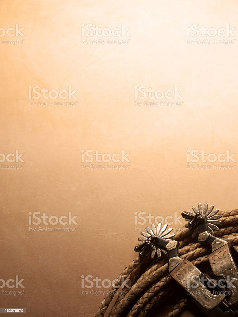 Lariat and spurs on a warm leather background. royalty-free stock photo