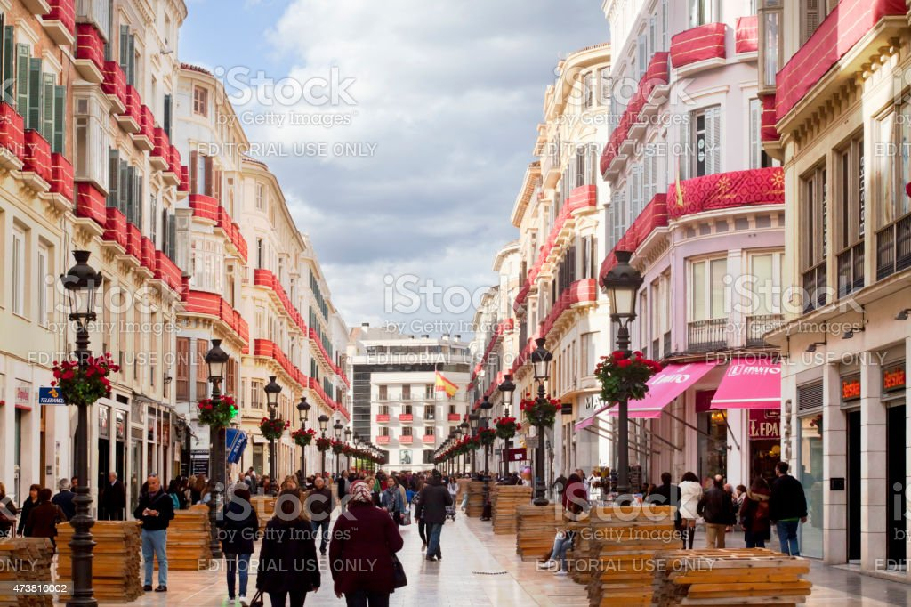Larios street view in M?laga, Andaluc?a, Spain. stock photo